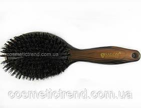 Щетка для волос массажная деревянная с натуральной щетиной Salon Professional 7763 FM, фото 2