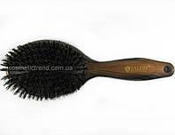 Щетка для волос массажная деревянная с натуральной щетиной 7763FM Salon Professional
