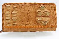 Кошелек из крокодиловой кожи в оплетке светло-коричневый, фото 1
