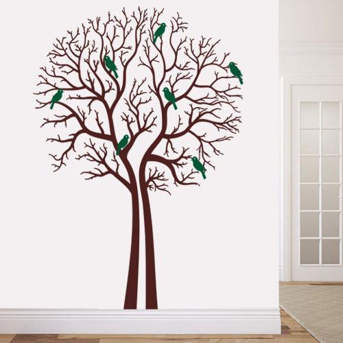Интерьерная виниловая наклейка Деревья зимой (пленка самоклеющаяся, декоративное дерево стикер, оракал)