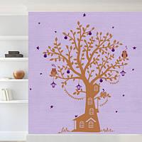 Наклейка на обои Дерево Лесной дом