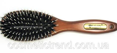 Щетка для волос массажная овальная деревянная со смешанной щетиной Salon Professional 7697CLB, фото 2