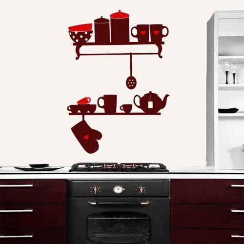 Интерьерная виниловая наклейка Полочки с посудой (наклейки на кухню, декор стен на обои, самоклеющаяся пленка)