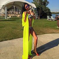Пляжная накидка женская с длинным рукавом.Размер универсал, на завязках.Цвета в ассортименте.AB 1032