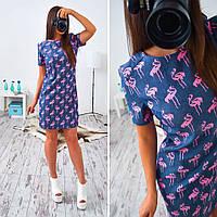 Платье женское 33023 Джинсовое платье с фламинго