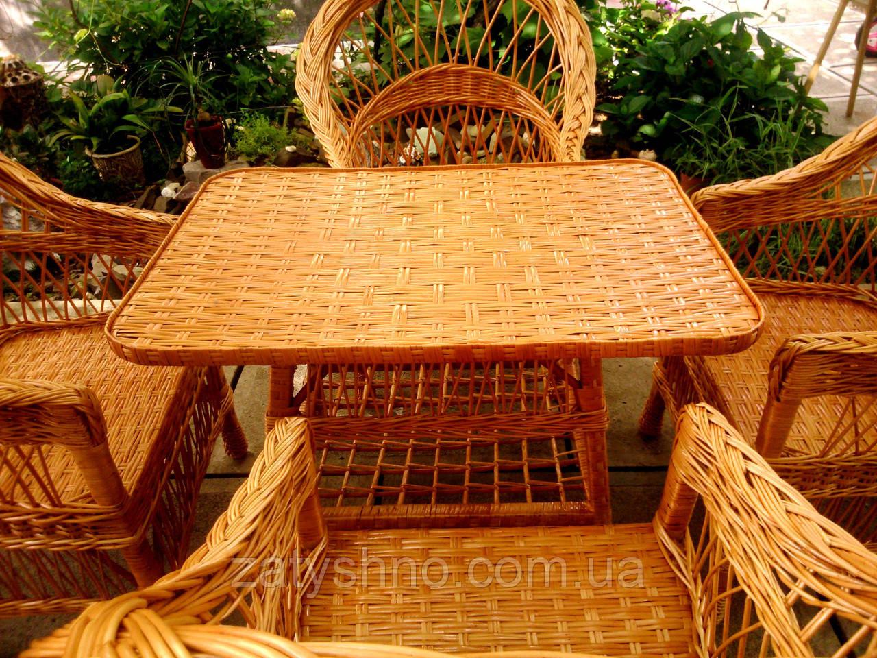 Кресла и стол плетеные из лозы