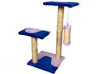 СИЗАЛЬ Когтеточка для кошек ДРП Альфа 3 столба, 2 лежака волна 38*38*70
