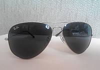 Очки Рей Бен Авиатор черная линза в серебряной оправе. ААА качество. Стекло 3025-3026 Комплект люкс.