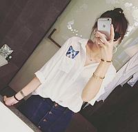 Рубашка женская модная с котиком в кармане