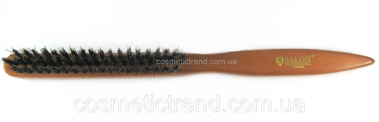 Щетка для начеса волос Salon Professional узкая 3-рядная деревянная с натуральной щетиной 17059СМ