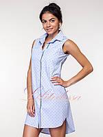Платье-рубашка Джина голубое