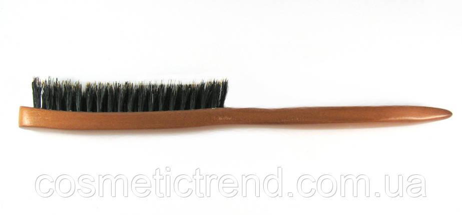 Щетка для начеса волос Salon Professional узкая 3-рядная деревянная с натуральной щетиной 17059СМ, фото 2