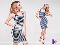 Платье выше колена вискоза принт-полоска качественного кроя 814 ЮГ Н 56, фото 1