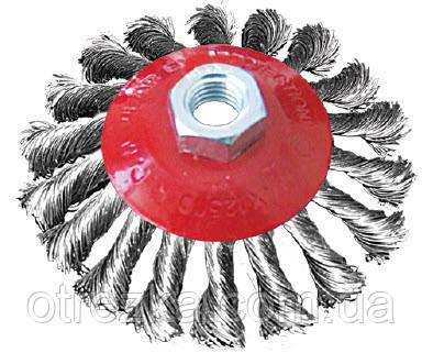 Щетка по металлу для болгарки конусная из витого троса 125 мм