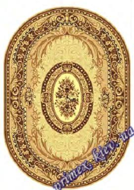 """Синтетический овальный ковер эконом-сегмента Gold Karat """"Мелодия"""", цвет бежевый"""