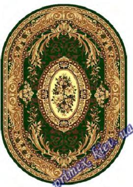 """Синтетический овальный ковер эконом-сегмента Gold Karat """"Мелодия"""", цвет зеленый"""