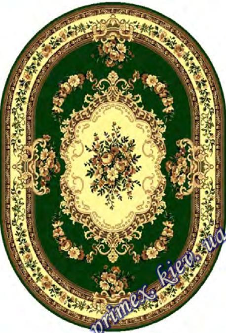 """Синтетический овальный ковер эконом-сегмента Gold Karat """"Прикосновение"""", цвет зеленый"""