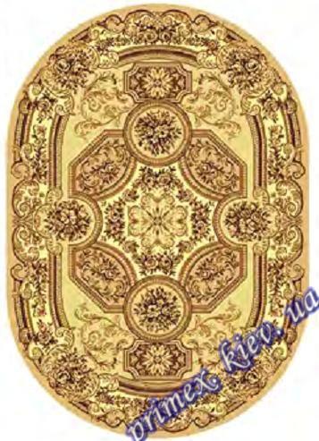 """Синтетический овальный ковер эконом-сегмента Gold Karat """"Храм"""", цвет бежевый"""