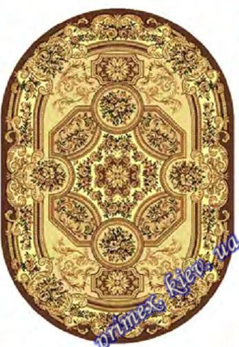 """Синтетический овальный ковер эконом-сегмента Gold Karat """"Храм"""", цвет коричневый"""