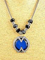 Красивый кулон синий медальон