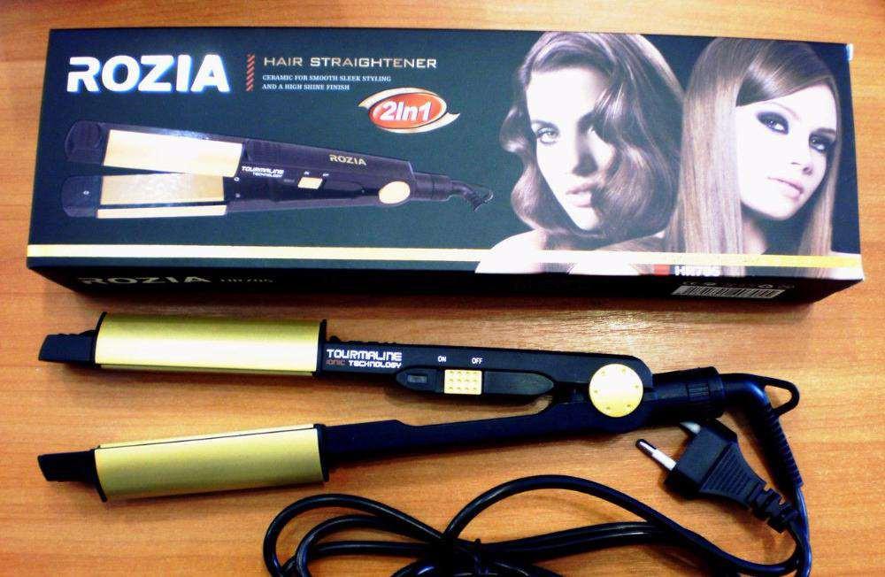 Плойка стайлер утюжок турмалиновый для выпрямления и завивки волос 2 в 1 ROZIA.
