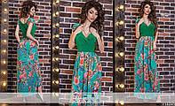 Летнее платье макси цветочного принта с декольте