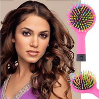 Расческа, щетка для волос с зеркалом для девушек и девочек Rainbow Volume Brush 15см