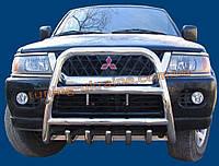 Защита переднего бампера кенгурятник высокий без надписи (нерж.) D70 на Mitsubishi Pagero Sport 2008+