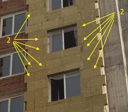 неправильное расположение дюбеля фасадного утепления
