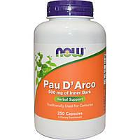 Pau D'Arco Кора муравьиного дерева, 500 мг, 250 капсул Now Foods, made in USA