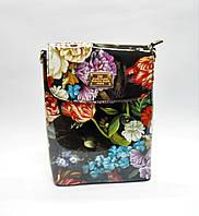 Клатч женский лаковый черный с цветами на плечо