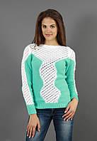 Женская вязанная кофта двух цветов