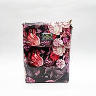 Клатч женский лаковый фиолетовый с цветами на плечо