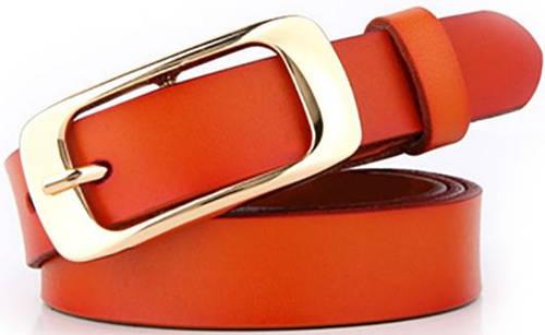 Молодежный женский узкий кожаный ремень 2 см. Traum 8825-18, оранжевый