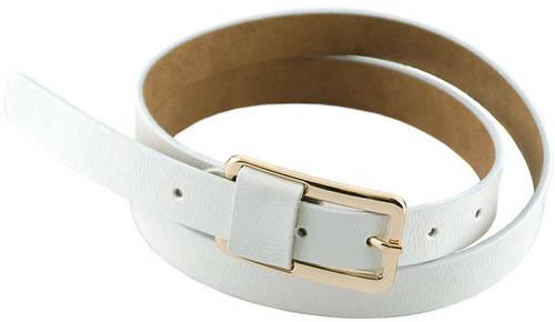 Стильный женский узкий кожаный ремень 2 см. Traum 8825-21, белый