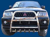 Защита переднего бампера кенгурятник высокий без надписи (нерж.) D70 на Mitsubishi Pagero Sport 2002-2008