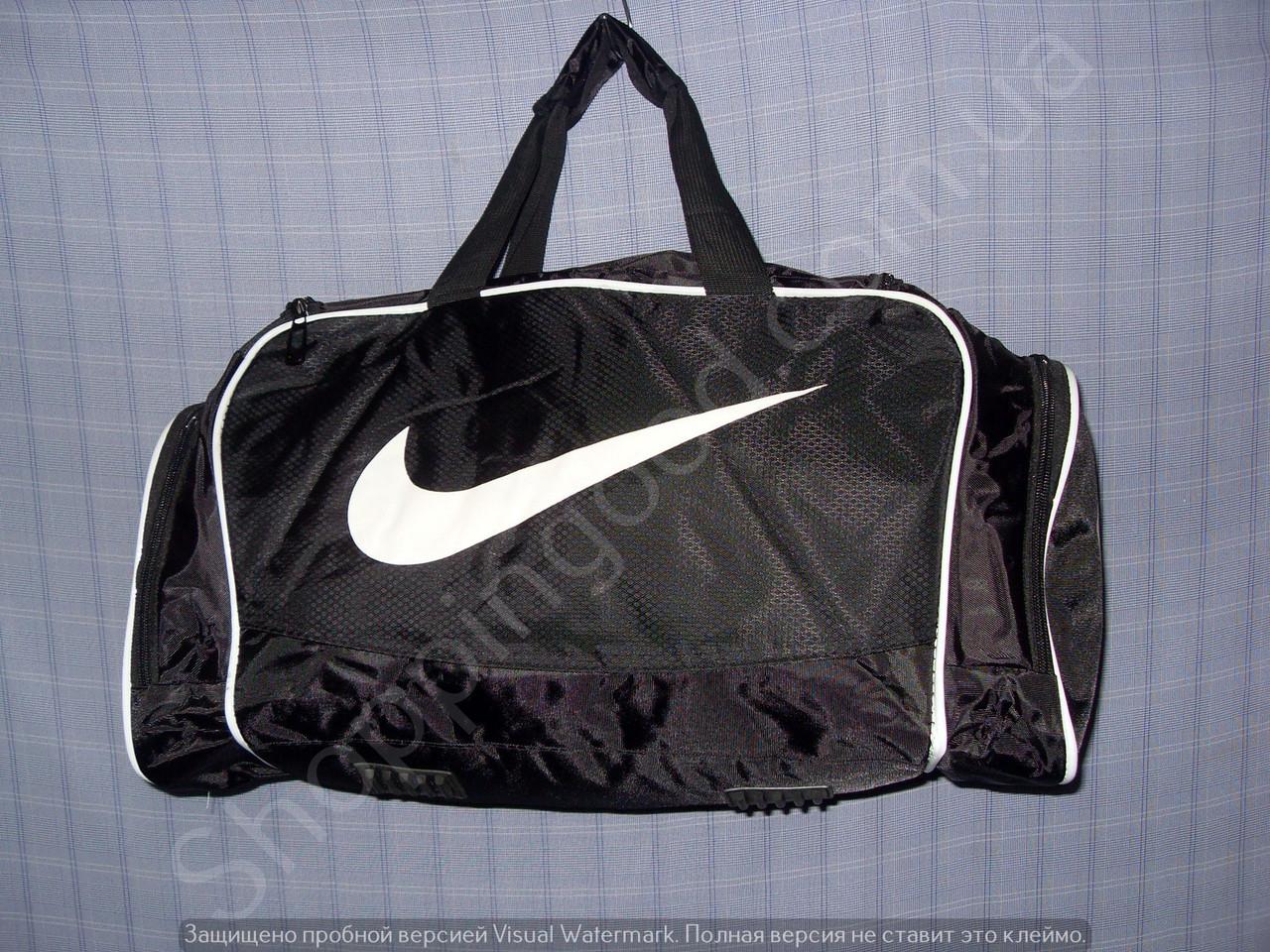 c34084a0039b Багажная сумка 114135 средняя (50х27х23, см) черная с белым спортивная копия  из полиэстера