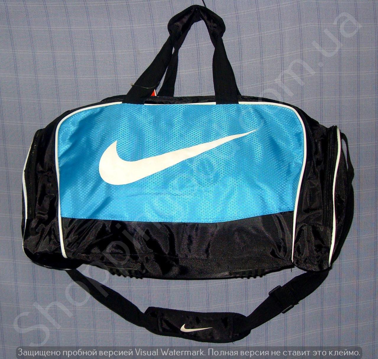 7bb349fa164b Багажная сумка 114138 средняя (50х27х23, см) черная с голубым спортивная  копия из полиэстера