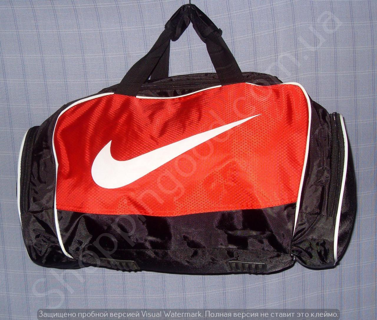 4f8b817bced8 Багажная сумка 114139 средняя (50х27х23, см) черная с красным спортивная  копия из полиэстера