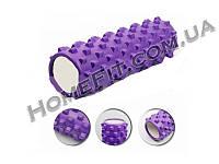 Массажный роллер (ролик, валик) 45 см Grid Roller игольчатый для точечного массажа тела Все тело, Роликовый массаж, Фиолетовый