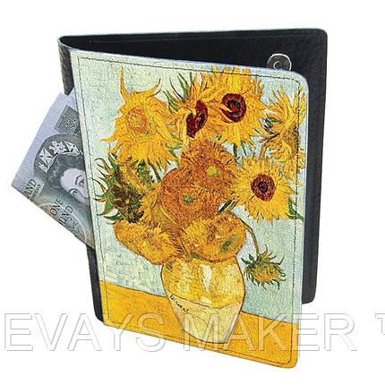 Холдер-паспорт из натуральной кожи Подсолнухи, фото 2