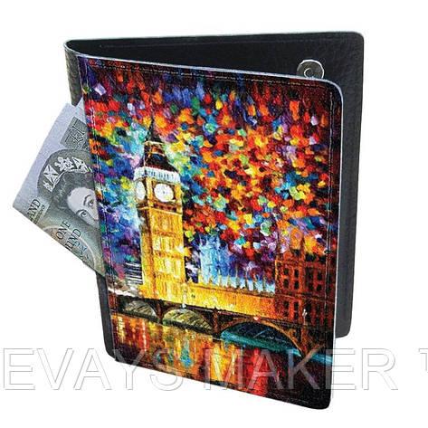 Холдер-паспорт из натуральной кожи Яркий Лондон, фото 2