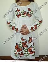 Вышитое детское платье Бабочка лён