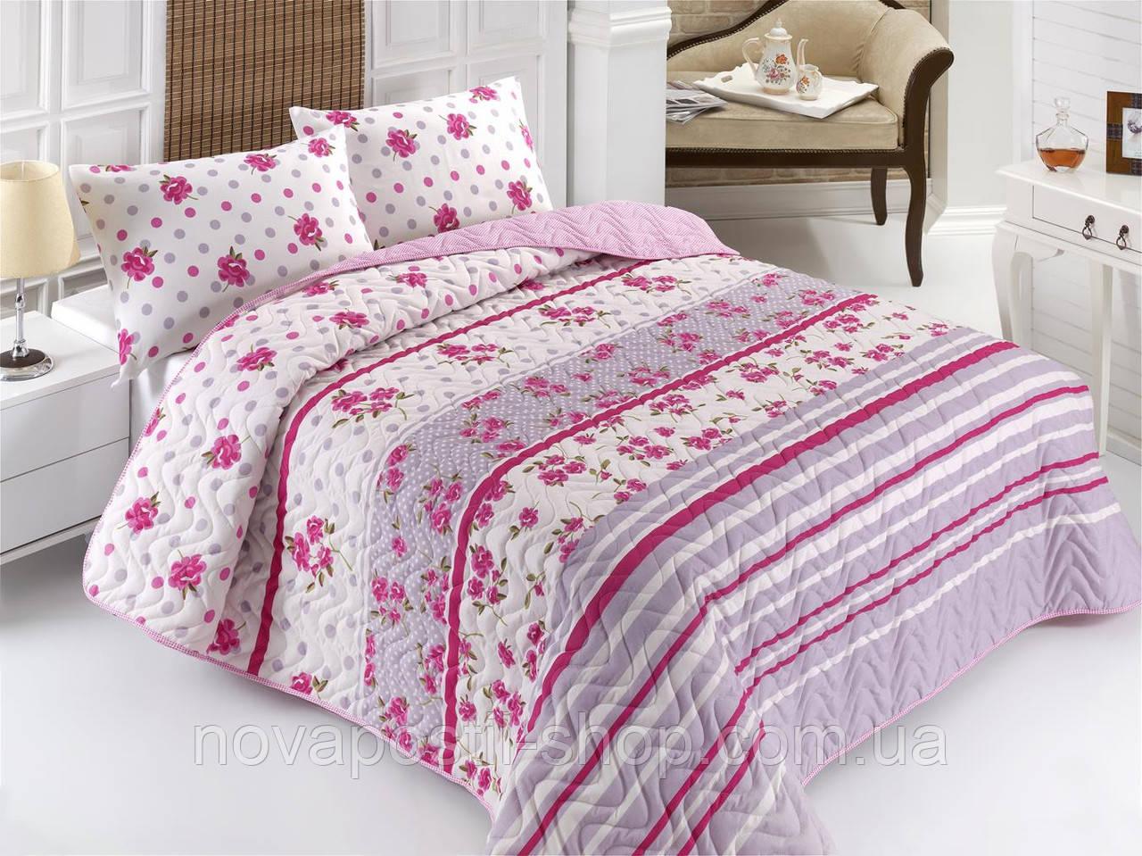 Покрывало с наволочками Eponj Home LENA розовый 200*220