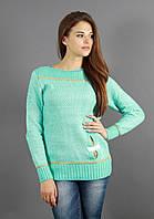 Бирюзовый свитер оригинального фасона, фото 1