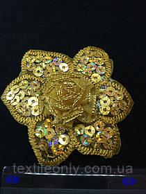 Аппликация с золотыми пайетками цветок , цвет золото