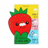"""Tony Moly Пластырь для носа против черных точек """"Homelless strawberry seeds 3-step nose pack"""", 6 г, 8806358584"""