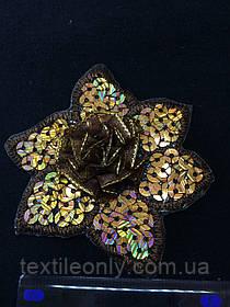 Аппликация с золотыми пайетками цветок , цвет темно-коричневый