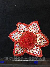 Аплікація з сріблястими паєтками квітка , колір червоний