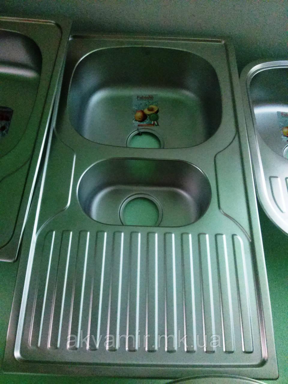Мийка Fabiano 88х50х15 Microdecor нерж. сталь 0.8 мм (Туреччина)